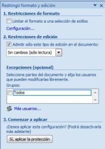 restringir formato y edición en documento word